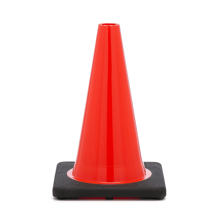 "(Set of 12) 18"" PVC Traffic Safety Cones, Plain, Black Base - Orange - RK Safety"