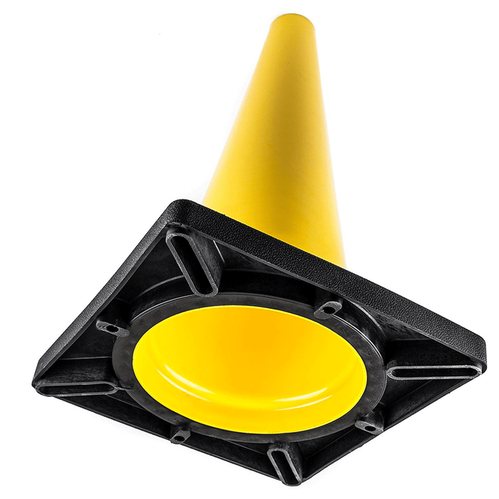 "(Set of 12) 18"" PVC Traffic Safety Cones, Plain, Black Base - Yellow - RK Safety"