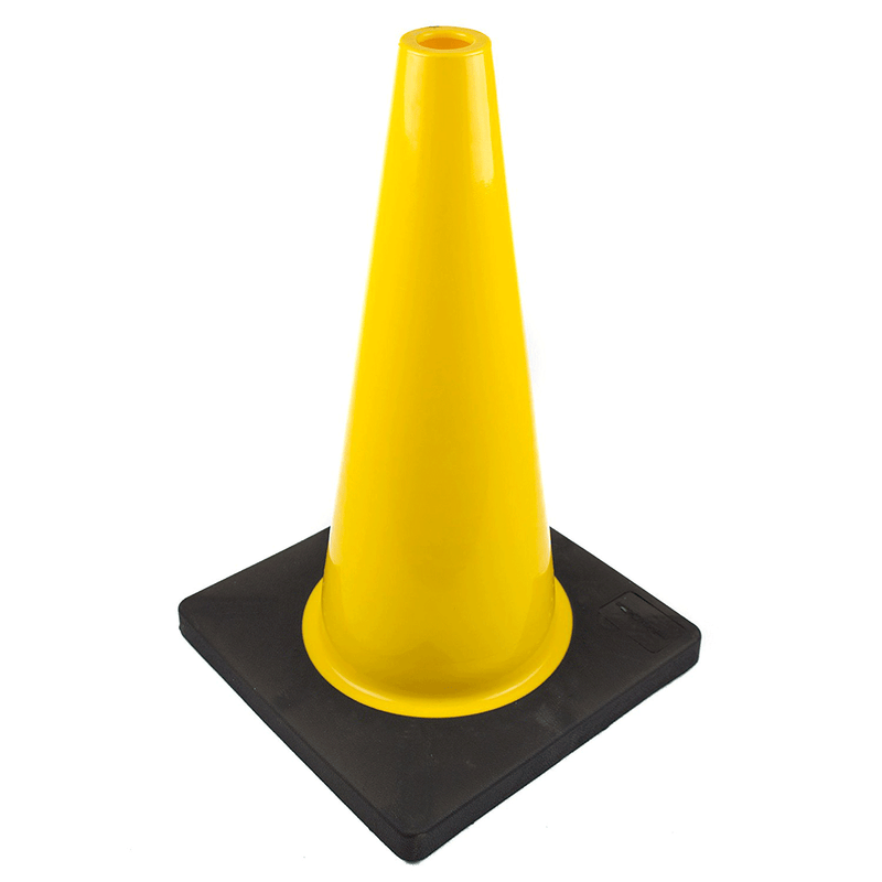 "(Set of 12) 18"" PVC Traffic Safety Cones, Plain, Black Base - Yellow-RK Safety-RK Safety"