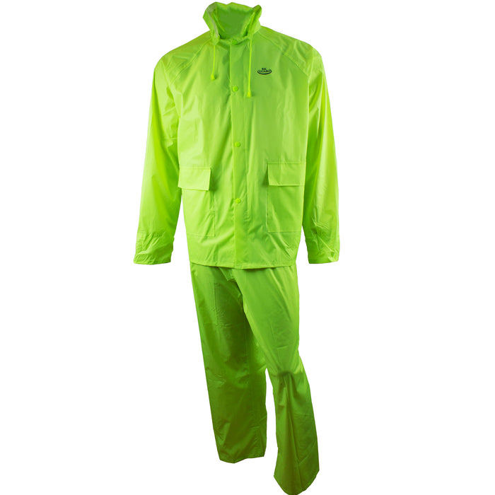Hi-Vis Green PVC Polyester 3-Piece Rain Suit | Jacket, Hoodie, Pants-RW-PP-HIG33 - RK Safety