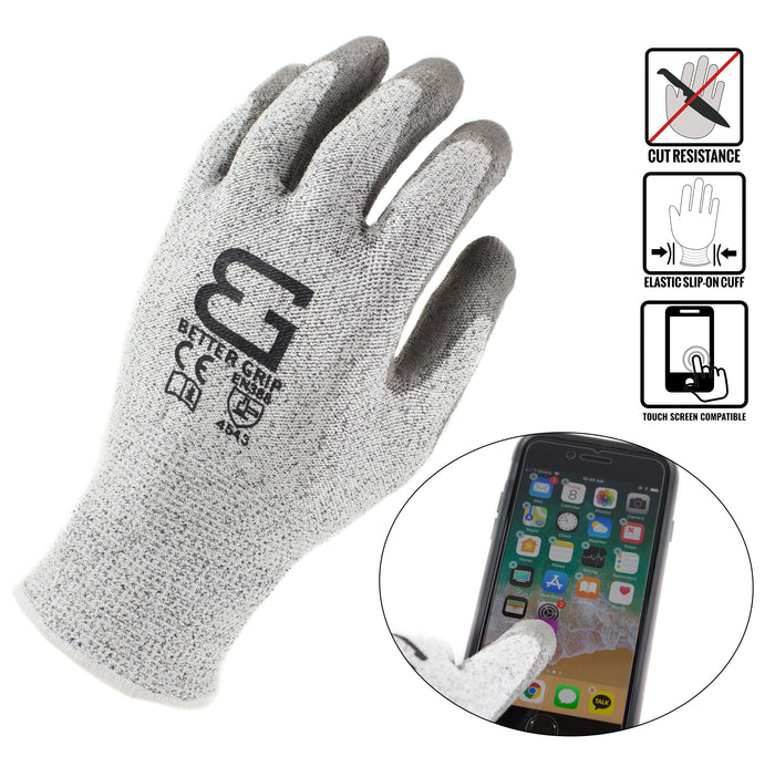 Level 5 Cut Resistant Shell PU Coating Work Gloves for Smart Phone-WG-Better Grip-RK Safety