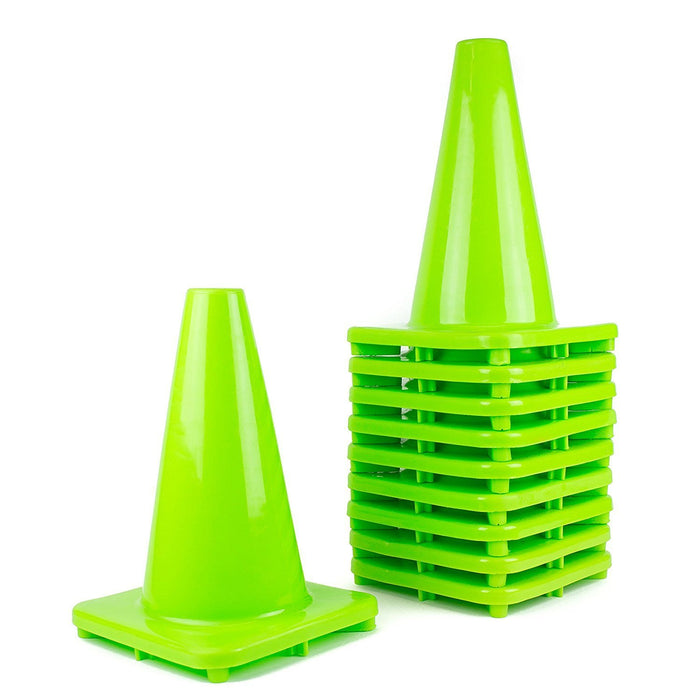"(Set of 10) 12"" PVC Traffic Safety Cones, Plain - Lime - RK Safety"