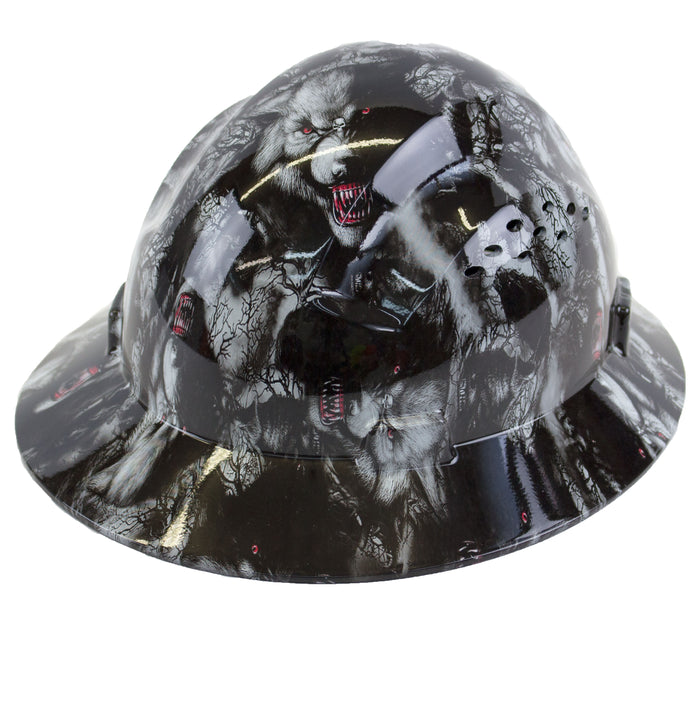 RK Safety RK-HP44-WOLVES Wolves Designed Hard Hat Brim Style with 4 Point Ratchet Suspension - RK Safety