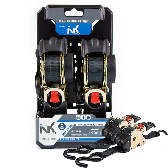"NK-RR1X10 1"" x 10ft Pro Retractable Ratcheting Tie-Down Strap (Pack of 2) - RK Safety"