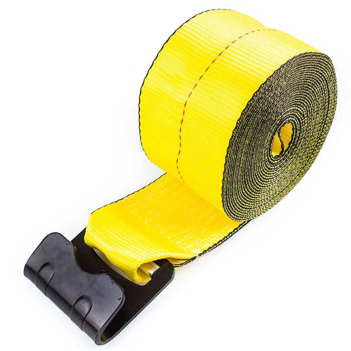 "NK-WST4X30 4""x30ft Yellow Winch Strap with Flat Hook - RK Safety"