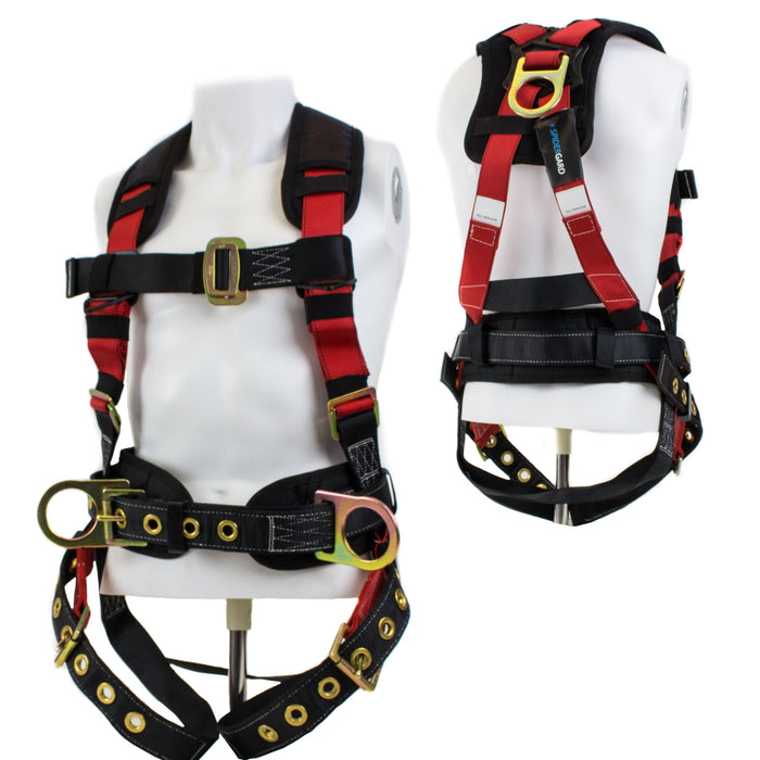 3 D-ring Construction Harness with Back Support and Tongue Leg Strap, Red and Black-SPH-C01-Spidergard-RK Safety