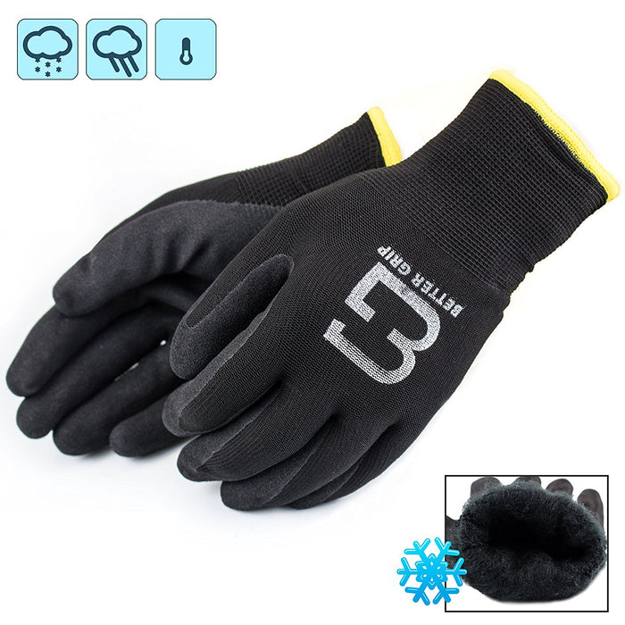 Better Grip® Double Lining Rubber Coated Gloves - BGWANS-BK 3 Pairs/ Pack-Better Grip-RK Safety