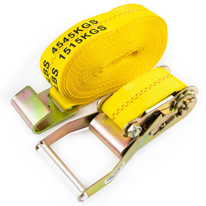"NK-RCF2X27 2"" X 27ft Yellow Ratchet Strap with Flat Hooks-Long Wide Handle, Webbing with Print, Truck Cargo Tie Down(Yellow, 2"" x 27"", Qty:1) - RK Safety"