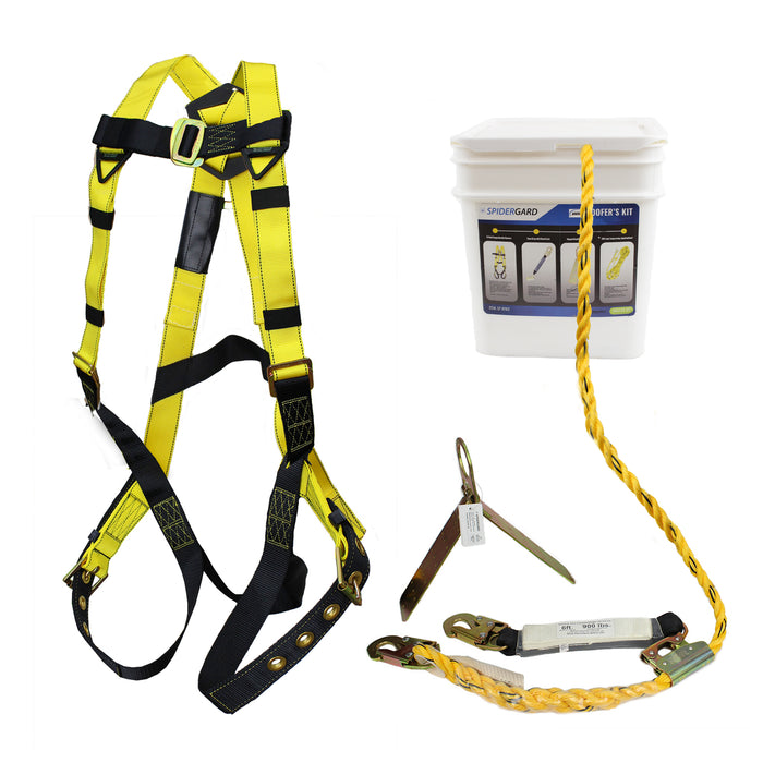 Spidergard SP-RFKIT Construction Harness with Leg Tongue Buckle Straps and 4 Pieces Roof Kit Combo-Spidergard-RK Safety