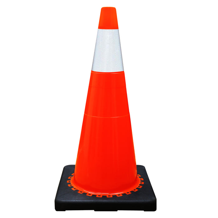 "(Set of 8) 28"" Orange Traffic Cones, One Reflective Collar - RK Safety"