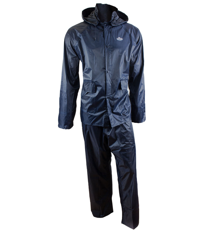 Navy PVC Polyester 3-Piece Rain Suit | Jacket, Hoodie, Pants-RW-PP-NVY33 - RK Safety
