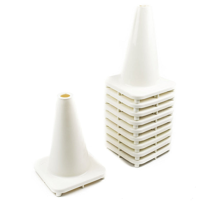 "(Set of 10) 12"" PVC Traffic Safety Cones, Plain - White - RK Safety"