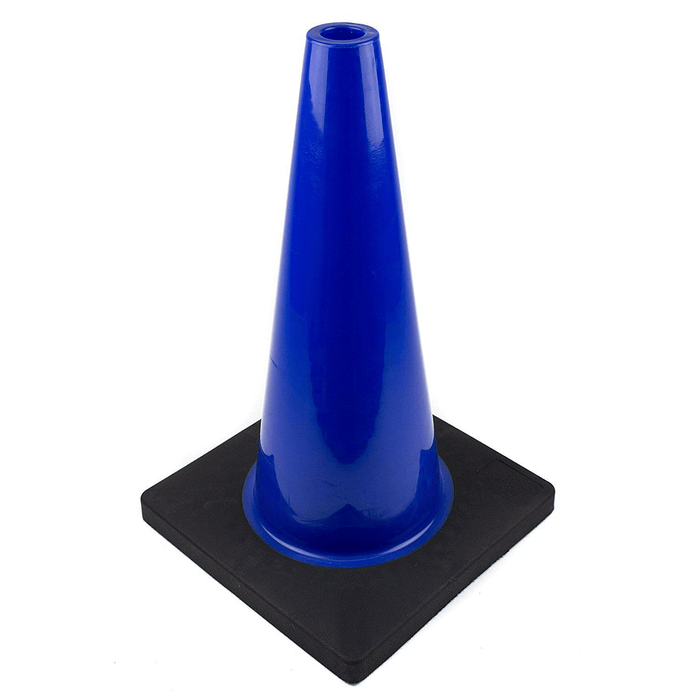 "(Set of 12) 18"" PVC Traffic Safety Cones, Plain, Black Base - Blue - RK Safety"