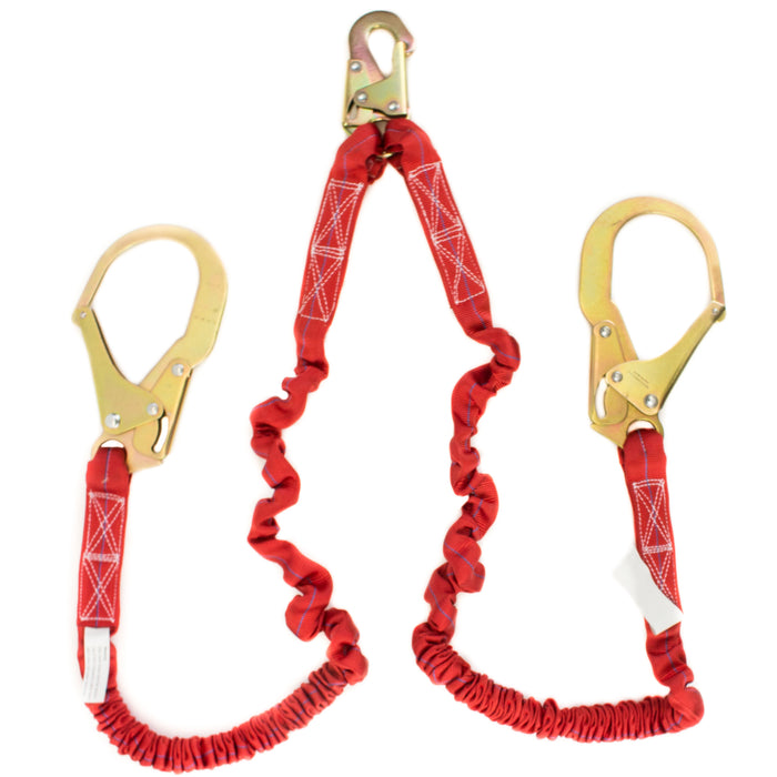 Spidergard SPL-S201 6-Feet Double Leg Internal Shock Absorbing Lanyard with Two Rebar Hooks, Red-Spidergard-RK Safety