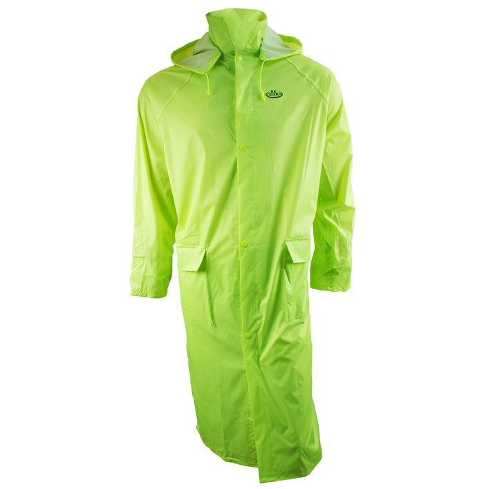 Hi-Vis Green PVC Polyester Trench Rain Long Coat With Hoodie-RC-PP-HIG44-RK Safety-RK Safety