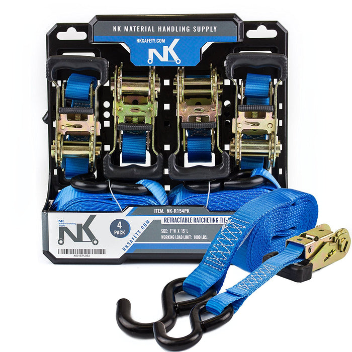 NK Ratchet Tie Down 4-Pack Set with S hook, 1 Inch 15-Feet (Pack of 4)-NK-R154PK - RK Safety