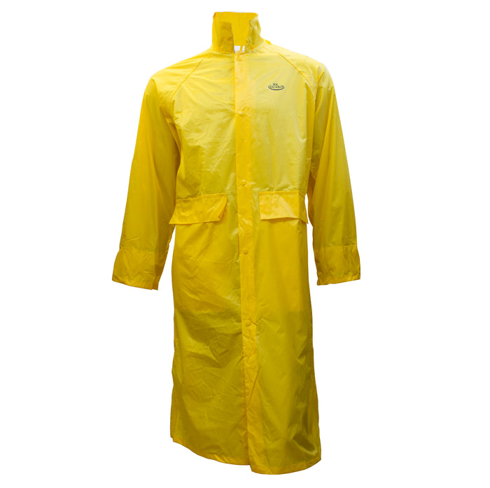 Yellow PVC Polyester Trench Rain Long Coat With Hoodie-RC-PP-YEL44 - RK Safety