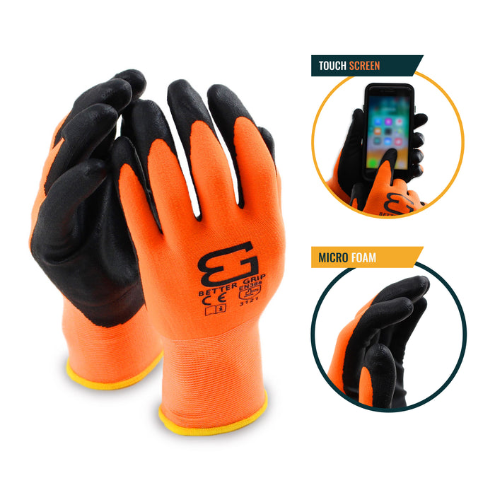 Micro Foam Nitrile Coated Nylon Work Glove - BGFLEXMF-OR - RK Safety