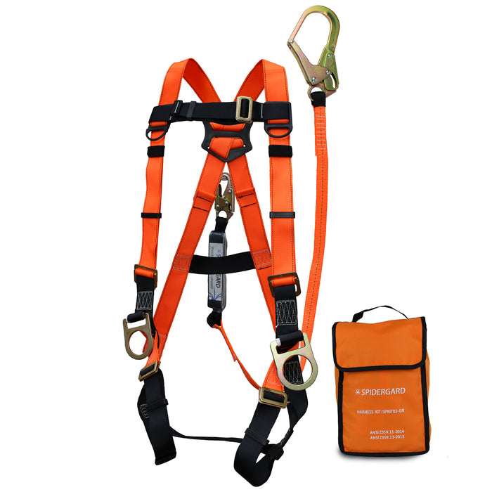 Spidergard THREE D-Ring Full Body Oragne Harness Combo-Spidergard-RK Safety
