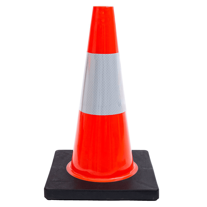 "(Set of 12) 18"" Traffic Safety Cones, One Reflective Collar, Black Base - Orange - RK Safety"
