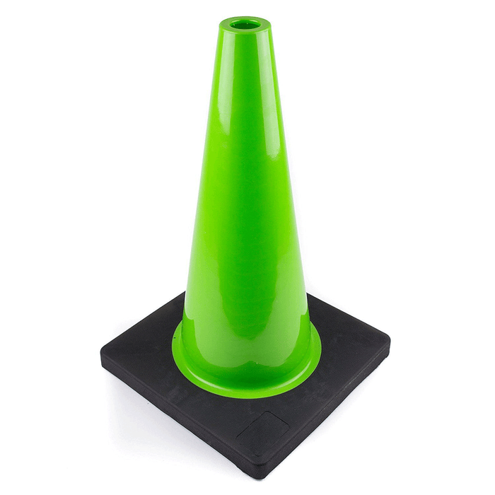 "(Set of 12) 18"" PVC Traffic Safety Cones, Plain, Black Base - Green - RK Safety"