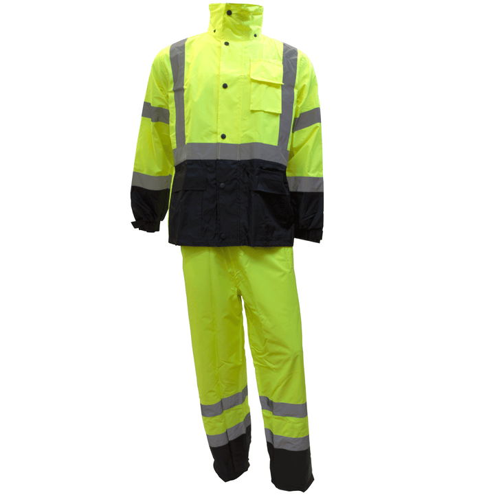 (Lime/Orange) Class 3 Rain Suit High Visibility Reflective Black Bottom RW-CLA3-LM11, RW-CLA3-TOR77-RK Safety-RK Safety