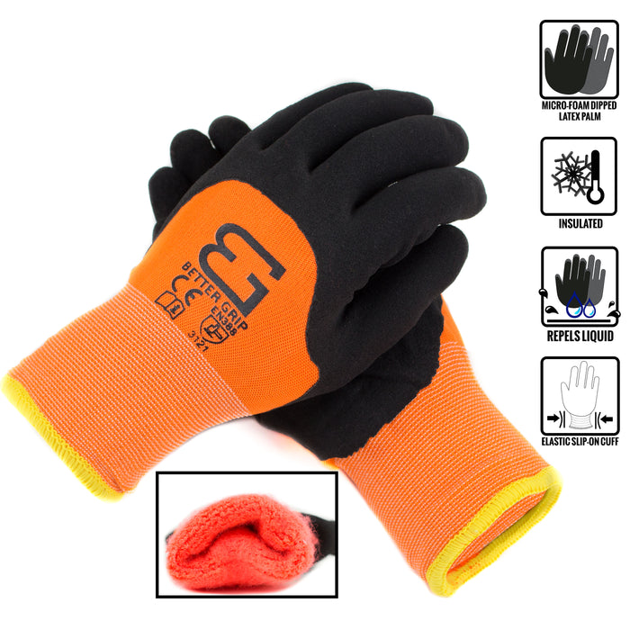 Better Grip Safety Winter Insulated Double Lining Rubber 3/4 Coated Work Gloves, 3 Pairs/ Pack - BGWANS3/4-OR - RK Safety