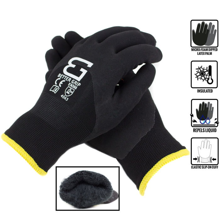 Better Grip Safety Winter Insulated Double Lining Rubber 3/4 Coated Work Gloves, 3 Pairs/ Pack - BGWANS3/4-BK - RK Safety