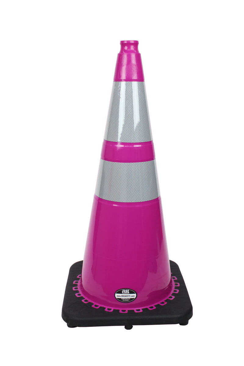 "(Set of 8) 28"" RK Pink Safety Traffic PVC Cones, Black Base with Two Reflective Collar…-RK Safety-RK Safety"