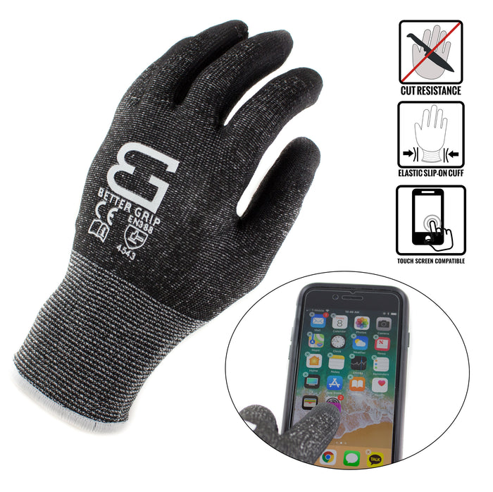Level 5 Cut Resistant Shell PU Coating Work Gloves for Smart Phone-BK - RK Safety