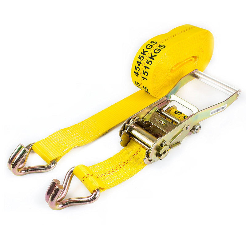 "NK-RCJ2X27 2""X27ft Yellow Ratchet Strap with Double J Hooks-Long Wide Handle-NK-RK Safety"