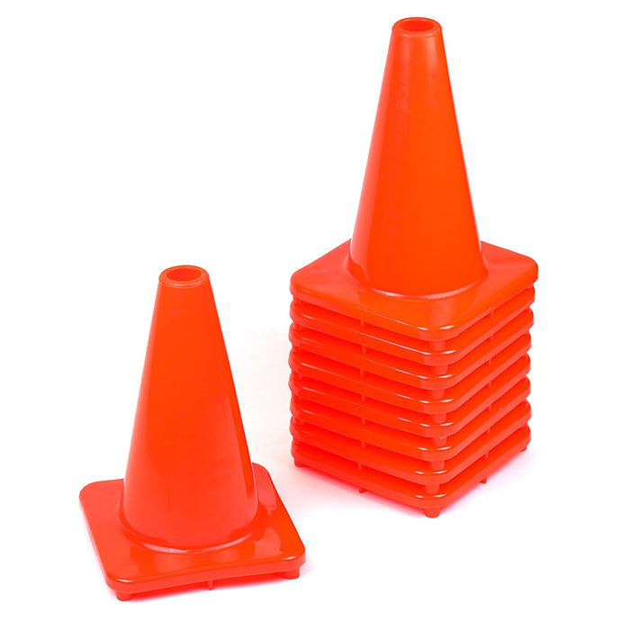 "(Set of 10) 12"" PVC Traffic Safety Cones, Plain - Orange-RK Safety-RK Safety"