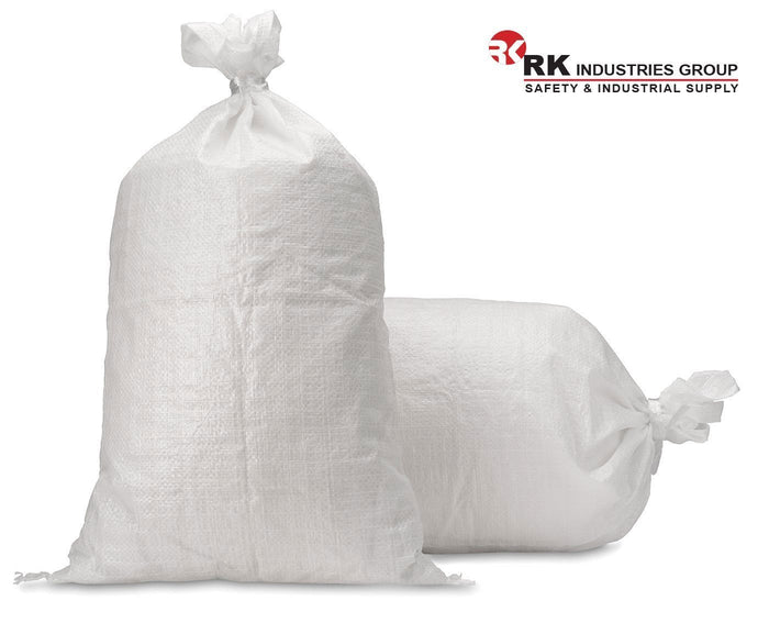 RK Sandbags Empty Woven Polypropylene Sand Bags with Built-in Ties 17 x 27 - RK Safety