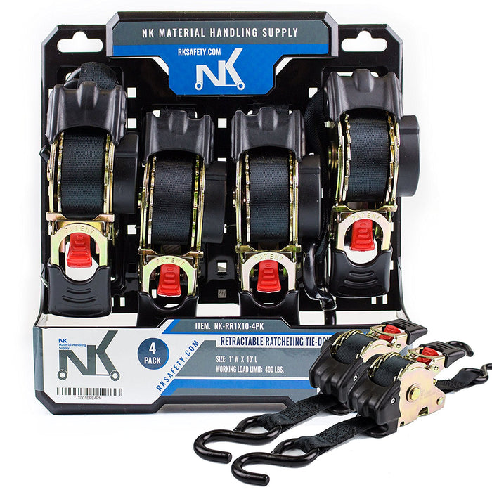 "NK-RR1X10 1"" x 10ft Pro Retractable Ratcheting Tie-Down Strap (Pack of 4) - RK Safety"