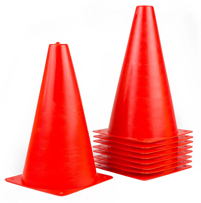(Set of 10) RK Sports Plastic Sport Cones - Red - RK Safety
