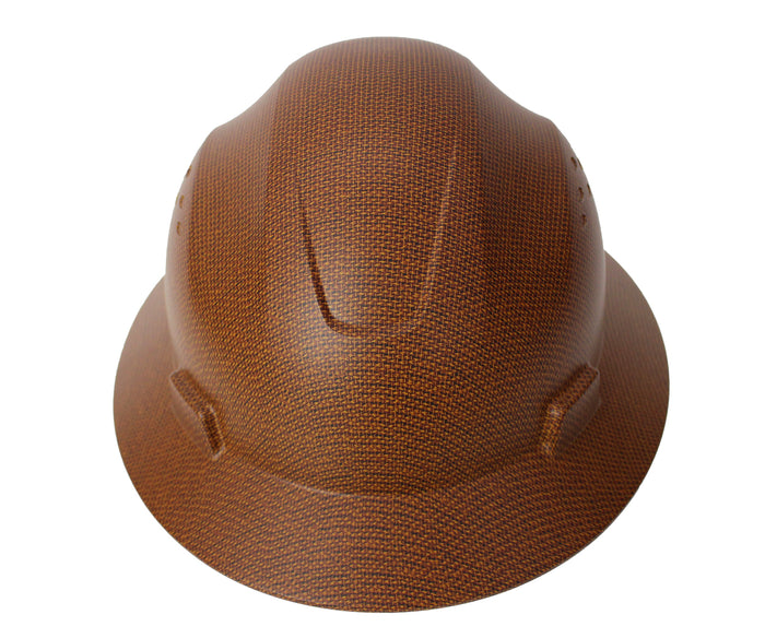 RK Safety RK-HP44-DESIGN, Hard Hat Brim Style with 4 Point Ratchet Suspension (1 EA, Brown)-RK Safety-RK Safety