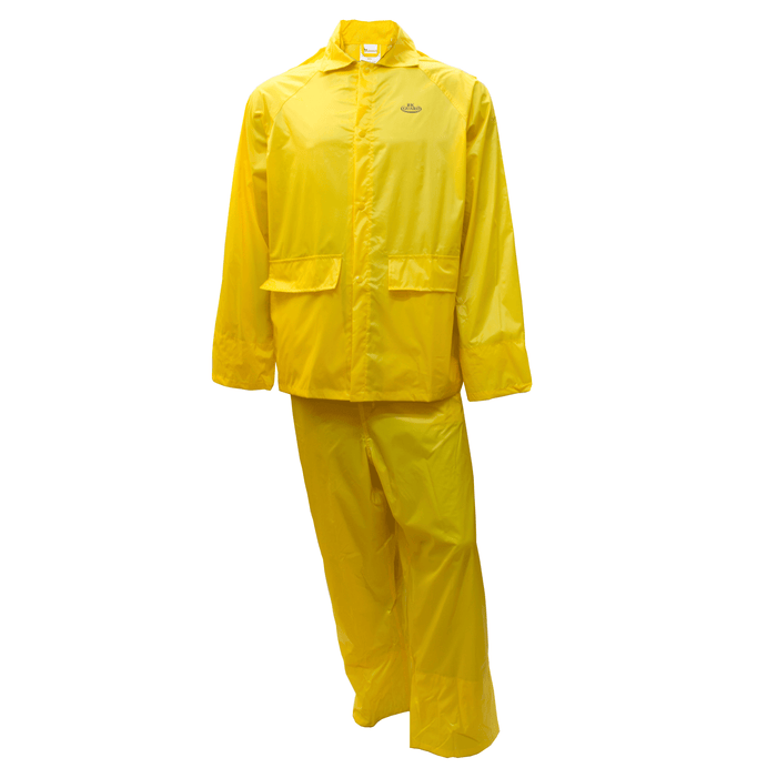 Yellow PVC Polyester 3-Piece Rain Suit | Jacket, Hoodie, Pants-RW-PP-YEL33 - RK Safety