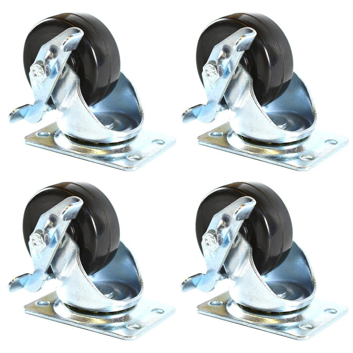 NK 2 Inch Low Profile Hard Rubber Wheel Swivel Plate Casters with Brake - CHR2SSBRRE-4-NK-RK Safety