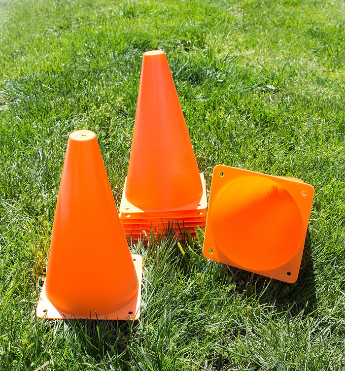 (Set of 10) RK Sports Plastic Sport Cones - Orange-RK Safety-RK Safety