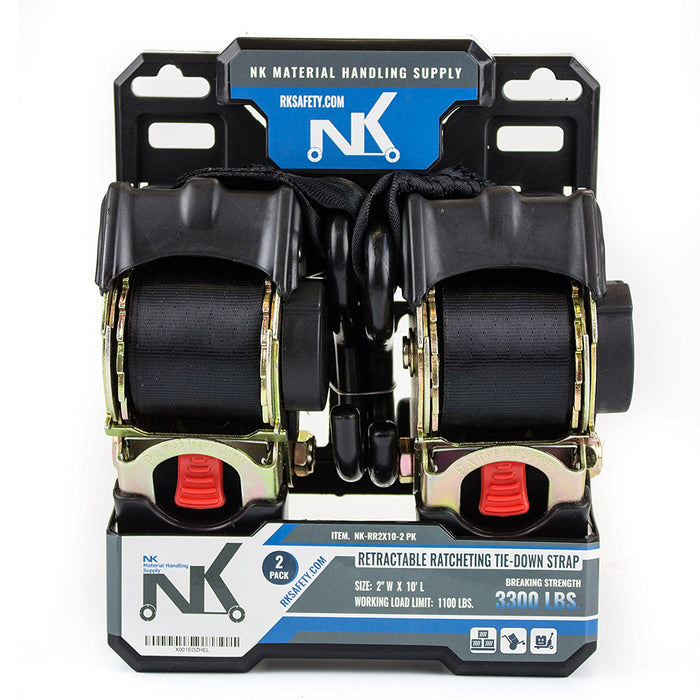 "NK-RR2X10 2"" x 10ft Pro Retractable Ratcheting Tie-Down Strap (Pack of 2)-NK-RK Safety"