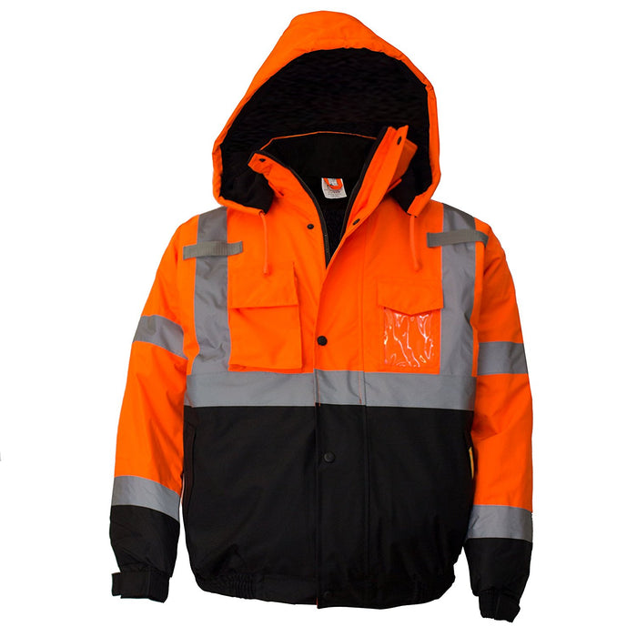 Men's ANSI Class 3 High Visibility Bomber Safety Jacket - WJ9011-New York Hi-Viz Workwear-RK Safety
