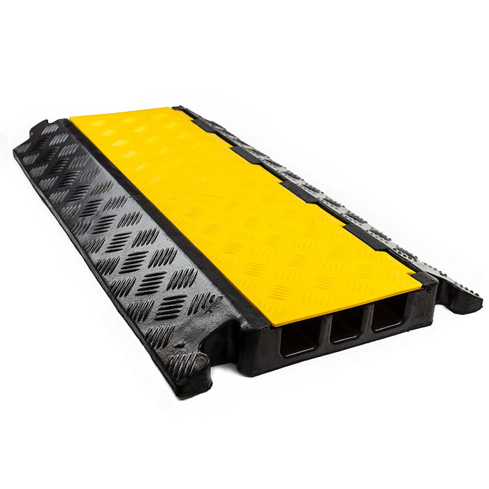RK RK-CP-3CST, 3Channel Modular Rubber Cable Protector Ramp-Straight-RK Safety-RK Safety