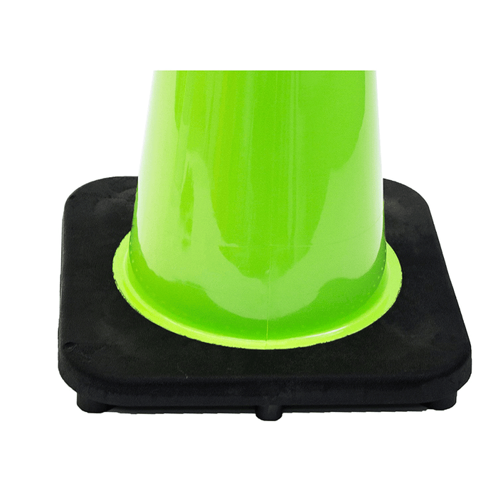 "(Set of 12) 18"" Traffic Safety Cones, One Reflective Collar, Black Base - Lime - RK Safety"