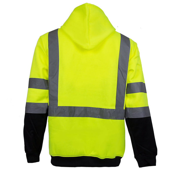 Class 3 High Visibility Sweatshirt , Full Zip Hooded, Fleece - H6612 - RK Safety
