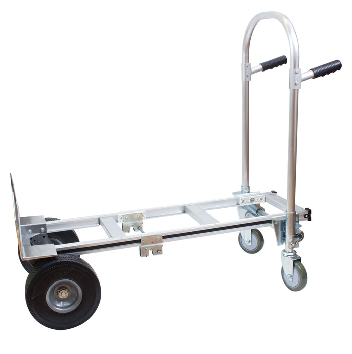 NK HTA-7A Heavy Duty 2 in 1 Junior Convertible Aluminum Hand Truck, Fully Assembled without Wheels, Flat Free Wheels - RK Safety