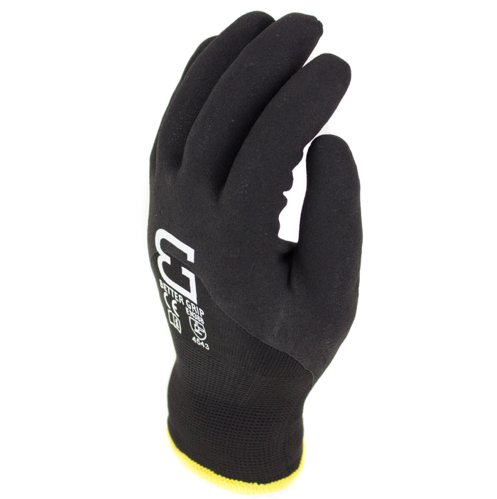 Better Grip Safety Winter Insulated Double Lining Rubber 3/4 Coated Work Gloves, 3 Pairs/ Pack - BGWANS3/4-BK-Better Grip-RK Safety