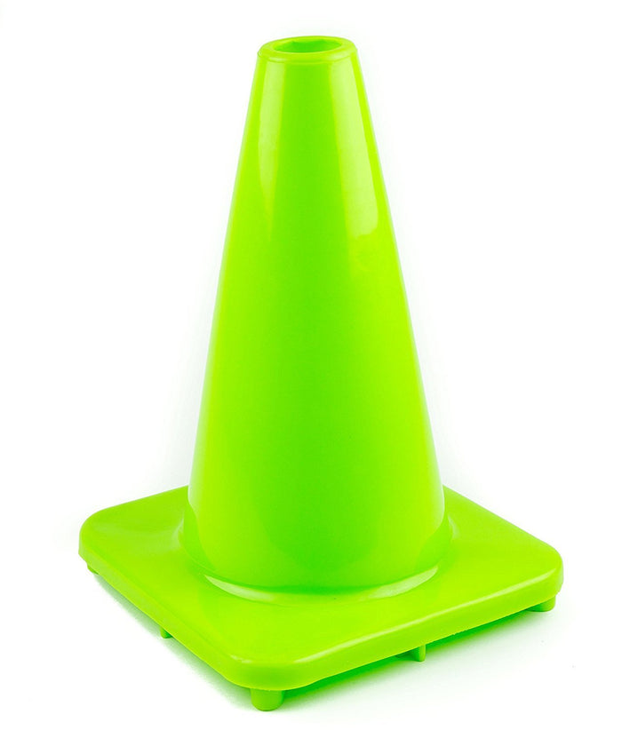 "(Set of 10) 12"" PVC Traffic Safety Cones, Plain - Lime-RK Safety-RK Safety"