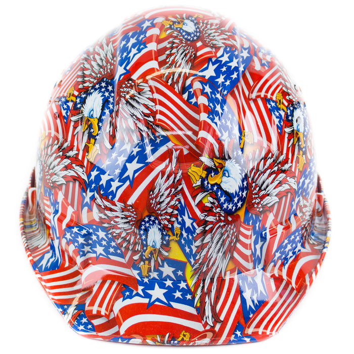 RK Safety RK-HP34-FLAG Flag Designed Hard Hat Cap Style with 4 Point Ratchet Suspension - RK Safety