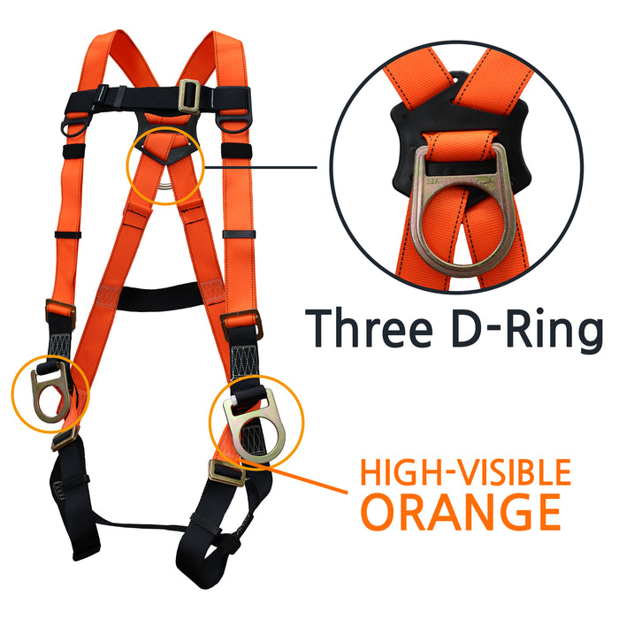 Spidergard THREE D-Ring Full Body Oragne Harness Combo - RK Safety