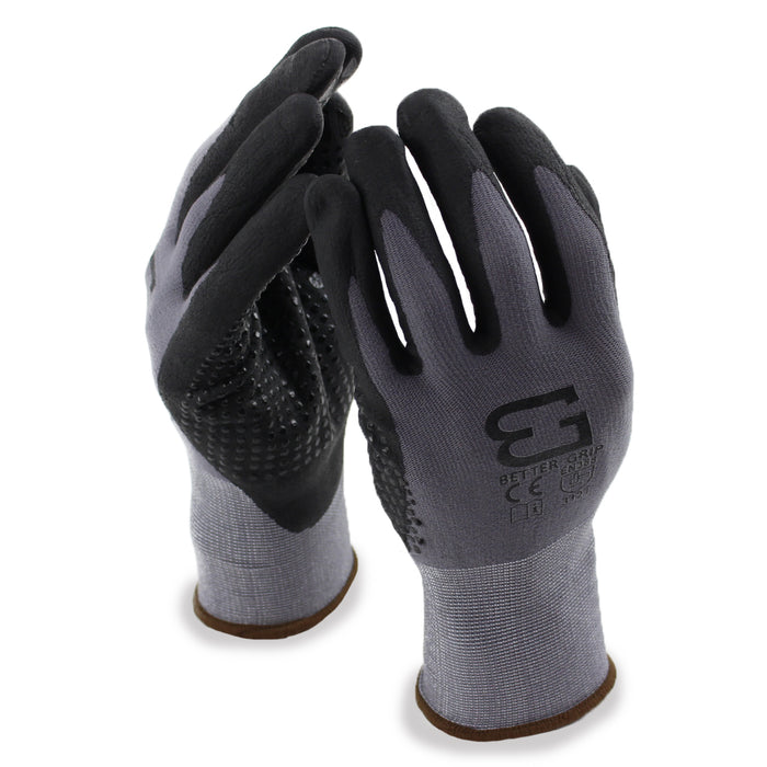 Micro Foam Nitrile Coated Nylon Work Glove with Dots on Palm - BGFLEXDOT-GY - RK Safety